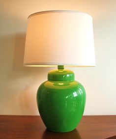 Vintage green ceramic ginger jar table lamp by highstreetmarket