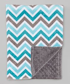 This The Minky Boutique 28'' x 38'' Teal Zigzag & Charcoal Minky Dot Blanket by The Minky Boutique is perfect! #zulilyfinds