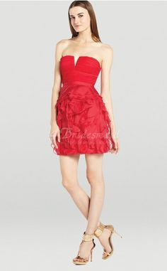 A-line Strapless Short/Mini Red Bridesmaid Dresses