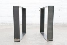 "16"" Square Flat Steel Legs - Raw Steel"