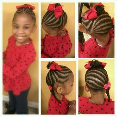 Cornrow updo with bun and braided ponytail #hair #style #girl
