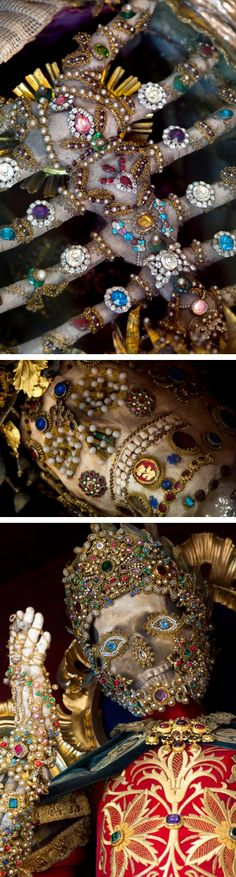 Fantastically bejeweled skeletons of Catholicism's forgotten martyrs - pictures by photojournalist Paul Koudounaris.   Fascinating article at Smithsonian(.)com ~ http://blogs.smithsonianmag.com/history/2013/10/meet-the-fantastically-bejeweled-skeletons-of-catholicisms-forgotten-martyrs/?utm_source=tumblr.com&utm_medium=socialmedia&utm_campaign=20131001&utm_content=pastimperfectbejeweledskeletons  #myt