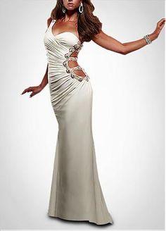 Sexy Chiffon Sheath One Shoulder Long Prom Dress
