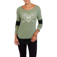 No Boundaries Juniors' Long Sleeve Swing Graphic Top, Size: XL, Green