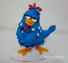 Comical Hen Fondant Cake Topper Figure.