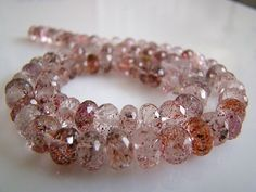 1/2 Strand--Beautiful, Natural Lepidocrocite Faceted Rondells. $34.99, via Etsy.