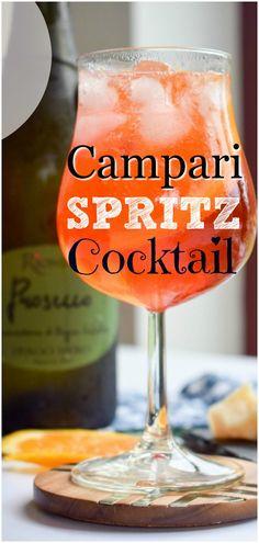 Campari Spritz Cocktail just like a Prosecco Cocktail. #prosecco #proseccococktail #cocktail #drinks #spritz #campari #camparispritz #easy #refreshing