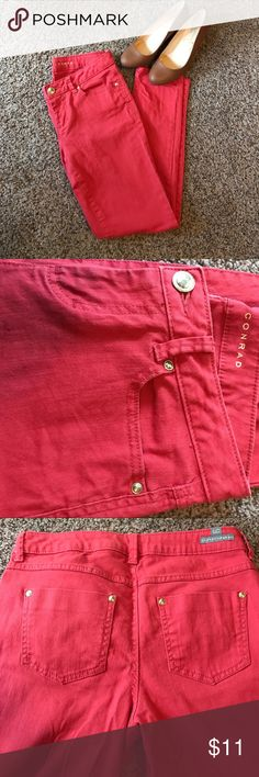 Lauren Conrad coral skinny jeans Beautiful vibrant coral color jeans. Size 4. There is some color fading along the waist and pockets as noted in the picture. Not sure if this was how it was manufactured as they have only been worn a few times. LC Lauren Conrad Jeans Skinny