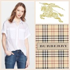 LIKE NEW!  Burberry Brit roll-sleeve cotton shirt This authentic, high-end, designer top in white is a total wardrobe must-have and it's feather-like weight feels beyond comfy on!  Easy to dress up or down and perfect worn alone or layered!  It's all white shade is beyond versatile to pair with absolutely everything!  It's oversized fit and rounded hemline will look amazing on!  Small mark on tag to prevent retail return- not affecting look in any way!  Hurry and grab this top at a beautiful…