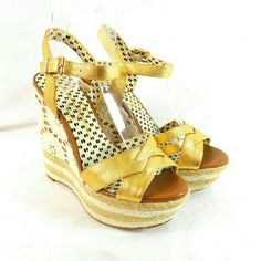 """Jessica Simpson Carson Gold Platform Wedge Sandals Thanks for checking out my closet. I take all my own pics. The shoes are authentic and new in box. The shoes have a man made upper with 1"""" platform and  5"""" heel. Jessica Simpson Shoes Sandals"""