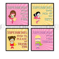 "Girl Superhero Playroom Art Prints Set of by OffTheWallbyLeah, $32.00. But change it to say ""princess"" instead of superhero"