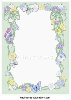 Stock Illustration of Picture frame with flowers and butterflies