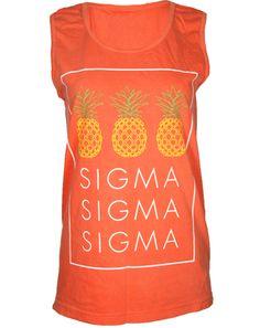 Sigma Sigma Sigma Pineapples Tank Top by Adam Block Design   Custom Greek Apparel & Sorority Clothes   www.adamblockdesign.com