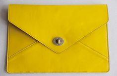 vintage style handmade leather envelope clutch bag. Yellow/English Saddle  $48.00 USD