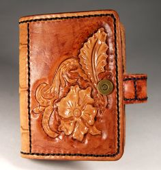 Leather cardholder. Carving leather. Mahogany floral by TiVergy
