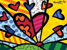 "Adoro as cores e formas das criações dele! A New Day 2001 - Romero Britto - 20"" x 27"" Acrylic on Canvas"