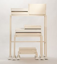 Modular storage cabinets by Maria Bruun that resemble ailens from Space Invaders. Furniture Sets Design, Small Furniture, Modular Storage, Space Place, Outdoor Chairs, Outdoor Decor, Storage Cabinets, Art Supplies, Contemporary Design