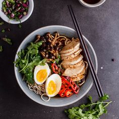 Roasted chicken ramen with shimeji mushrooms
