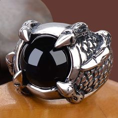 Black Amber Titanium Eagle Claw Punk Gothic Ring Fashion Jewelry Men SKU-71109001
