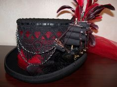 Red And Black Top, Black Top Hat, Steampunk Fashion, Victorian Fashion, Steampunk Pirate, Mad Hatter Hats, Pirate Hats, Steampunk Accessories, Pewter Color