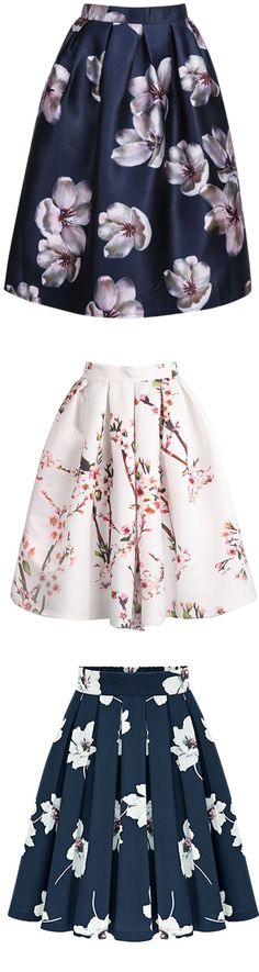 White Floral Pleated Skirt -SheIn(Sheinside)