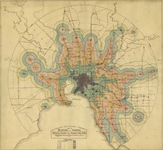 Historical Map: Train and Tram Travel Times in Melbourne, Australia, c. 1920