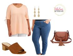 Plus Size Spring Outfit- peach Tie sleeve Top, jeans, mules