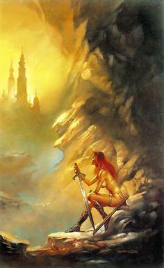 Red Sonja Art by Boris Vallejo Dark Fantasy Art, Fantasy Women, Fantasy Girl, Fantasy Artwork, Boris Vallejo, Red Sonja, Evvi Art, Julie Bell, Bell Art