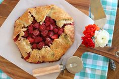 This Rustic Strawberry Rhubarb Galette with Ginger made with seasonally sweet strawberries, tart rhubarb and fresh ginger is an ideal dessert for the start of summer.