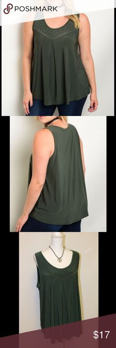 Plus Size Olive Studded Top - NWT This olive green sleeveless top has silver studs around the neck. It has an empire waist, and a slimming pleat in the front. It is made of 95% polyester and 5% spandex. It is super comfy and stretchy. See picture #4 for measurements.  I have 2 of each size (1x, 2x, and 3x) available right now. Tops Tunics