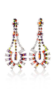 Tom Binns Painted Baguette Crystal Earrings
