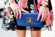blue chanel clutch.