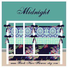Baby Bedding in Midnight with bumper set  crib by birdshaveflowers, $258.00