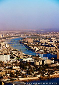 An aerial view of Bagdad, Iraq. Baghdad is the capital of the Republic of Iraq. Located along the Tigris River, the city was founded in the 8th century.