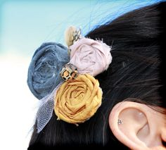 Vintage Rose Leopard Fabric Floral Hair Clip by CrowningPetals, $18.50