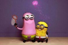 """Despicable Me"" Minions ""SpongeBob"" SquarePants the patrick one is cute but the spongebob kinda freaks me out Amor Minions, Despicable Me 2 Minions, Cute Minions, Minions Quotes, Funny Minion, Minion Stuff, Minion Things, Minions Cartoon, Minion Halloween"