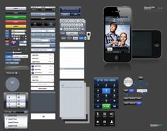 version of the iphone the gui psd layered material including button GUI interface elements