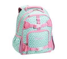 Mackenzie Aqua Moroccan Geo Backpacks | Pottery Barn Kids. The smallest size would be great to put all her toys and activities in while in China.