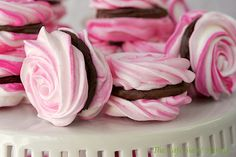 FRENCH MERINGUES W/ STRAWBERRY GANACHE FILLING from the Cafe Sucre Farine