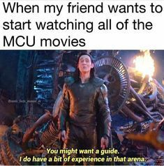 The Avengers 781867185296590933 - when a freind wants to start watching all of the MCU movies you might want a guide. i do have a bit of experience in that arena meme loki Source by rss_leseratte Avengers Humor, Marvel Avengers, Marvel Jokes, Marvel Comics, Math Comics, Funny Marvel Memes, Dc Memes, Marvel Fan, Marvel Heroes