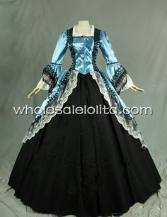 Free Shipping  Marie Antoinette Victorian Satin Lace Dress Ball Gown  Party Dress $129.00