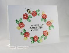 Stampin' Up!'s new 100 lb. card stock & Garden in Bloom single layer card ~ Escape2stamp