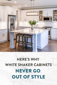 White Shaker Kitchen Cabinets, Shaker Style Cabinets, Kitchen Cabinet Styles, Solid Wood, Kitchen Design, Design Of Kitchen