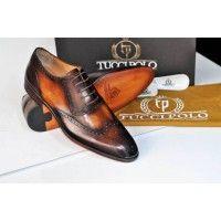 TucciPolo Mens Single Buckle Italian Leather Handmade Luxury Monkstrap Brown Shoe