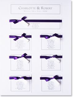 Ribbon Wedding Table Plan