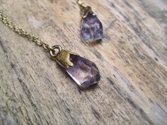 Delicate Amethyst Stone Pendant Necklace  by GramercyEight on Etsy, $48.00