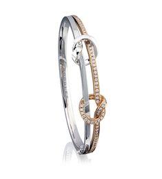 Stylish & Classy: Boodles' new Knot collection ~ Round brilliant cut diamond bracelet set in white and rose gold. Emerald Bracelet, Diamond Bracelets, Gold Bangles, Crystal Bracelets, Diamond Jewelry, Bangle Bracelets, Gold Jewelry, Fine Jewelry, Bracelet Set