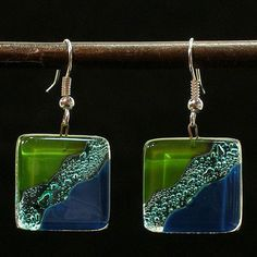 Fused Glass Ocean River Meadow Earrings