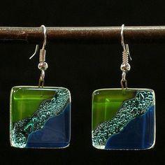 Fused Glass Ocean River Meadow Earrings