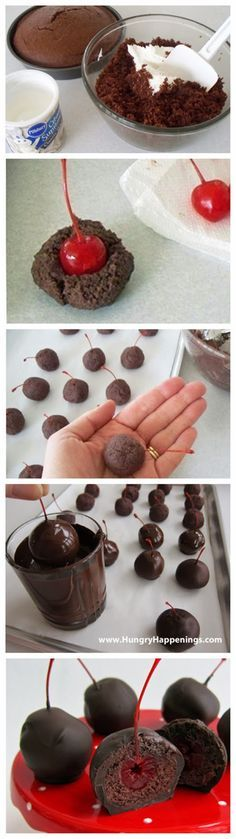 Sweet Chocolate Cherry Bombs I'd make it with chocolate frosting, and ganache on the outside...